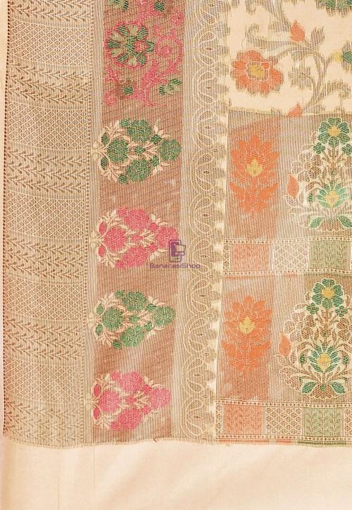 Woven Cotton Silk Saree in Beige 6