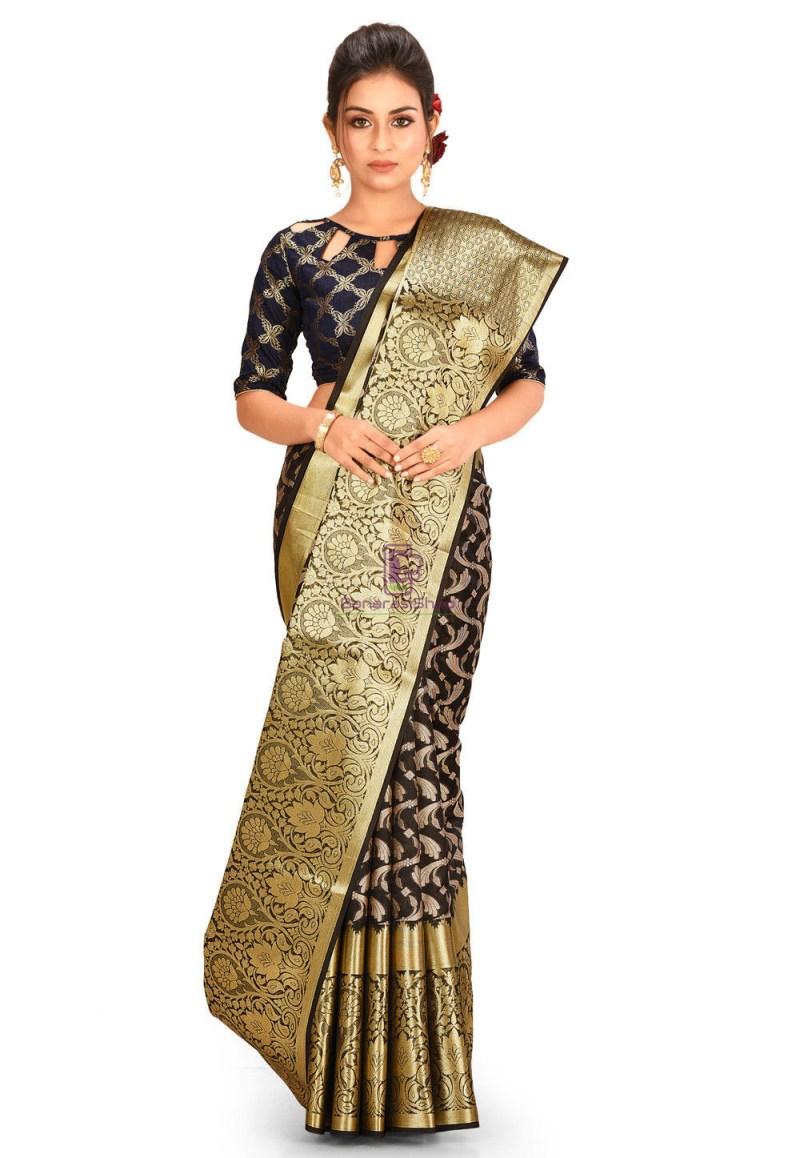 Woven Cotton Silk Saree in Black 1