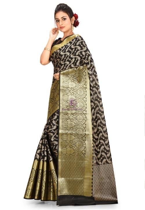 Woven Cotton Silk Saree in Black 5