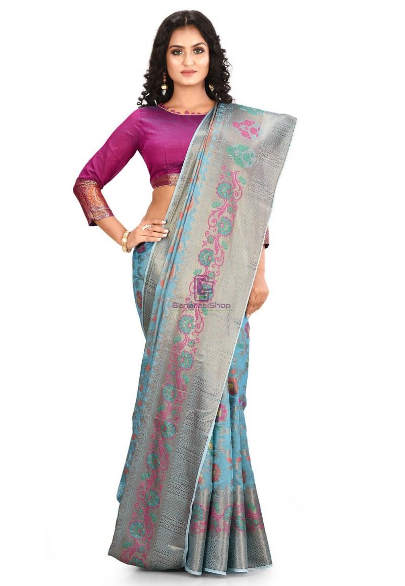 Woven Cotton Silk Saree in Blue 1