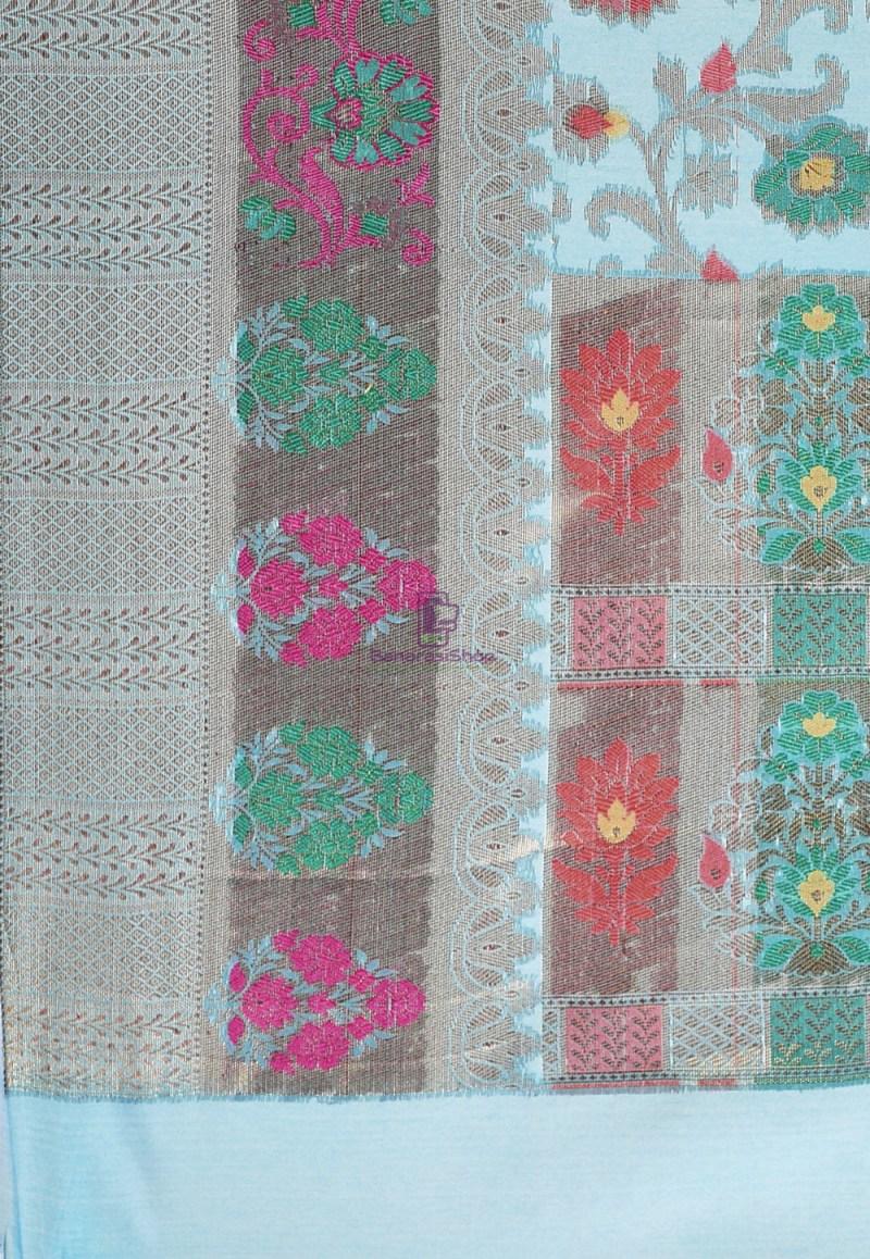 Woven Cotton Silk Saree in Blue 3