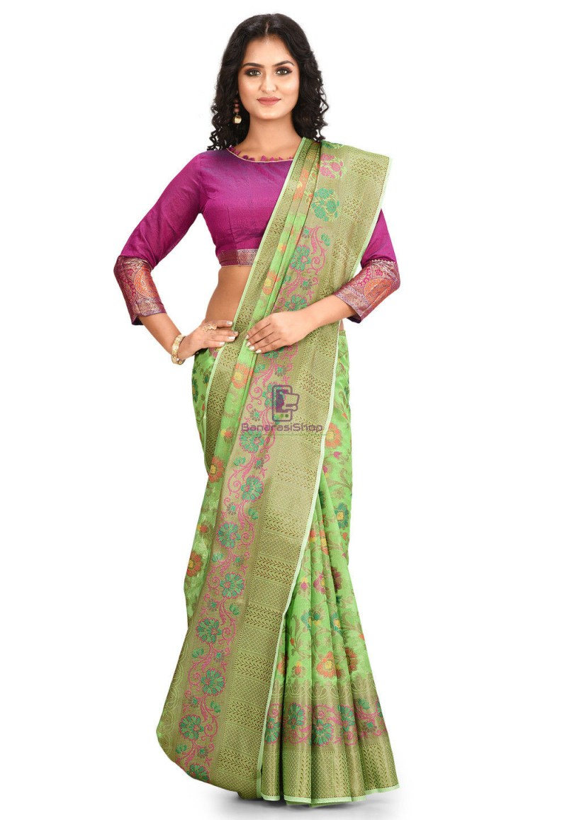 Woven Cotton Silk Saree in Green 1
