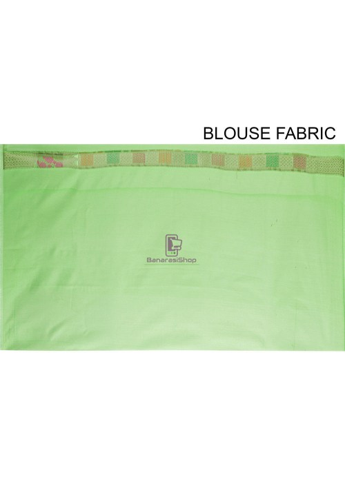 Woven Cotton Silk Saree in Green 7
