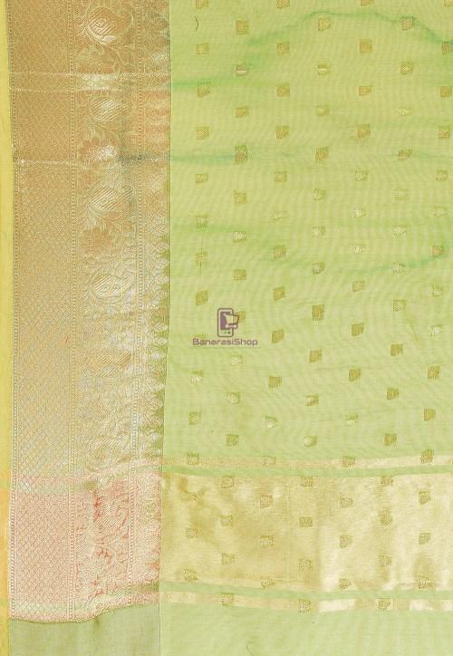 Woven Cotton Silk Saree in Light Green 6