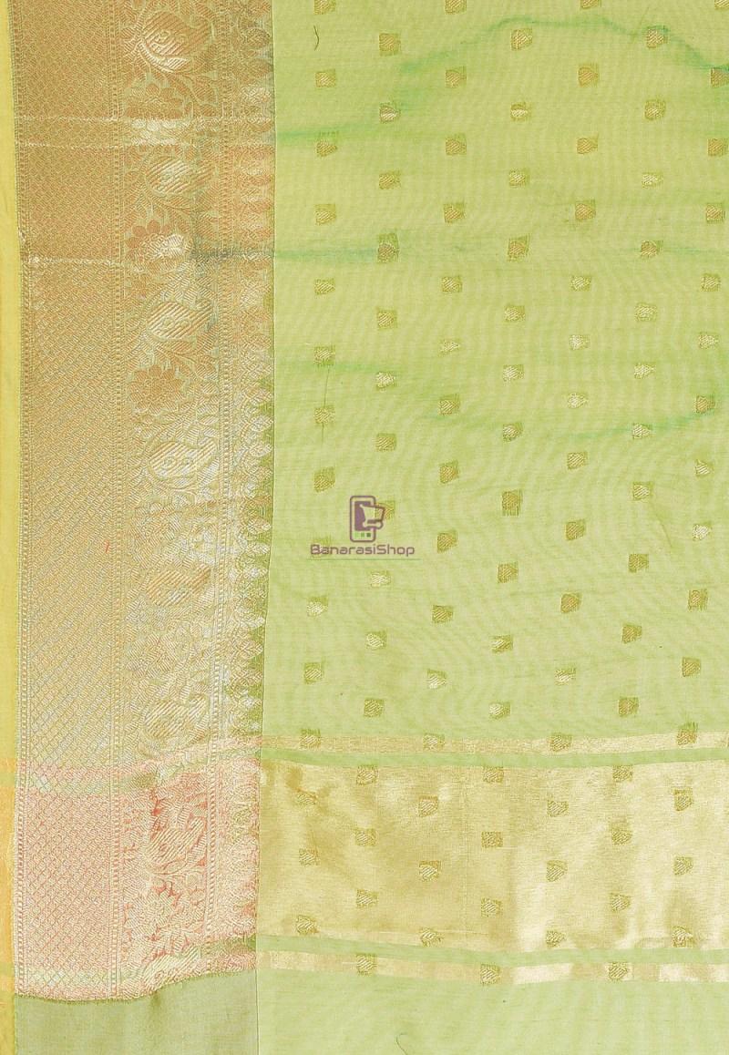 Woven Cotton Silk Saree in Light Green 3