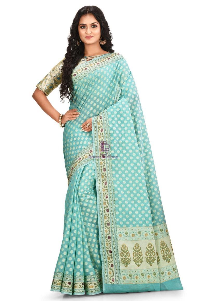 Woven Cotton Silk Saree in Light Teal Blue 1