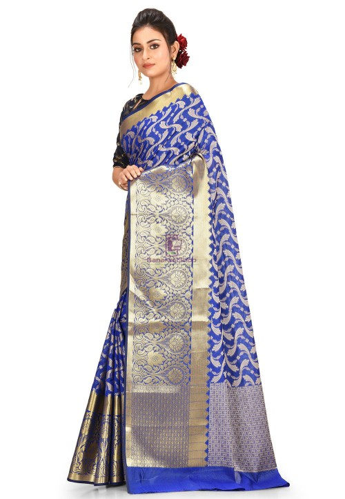 Woven Cotton Silk Saree in Navy Blue 5