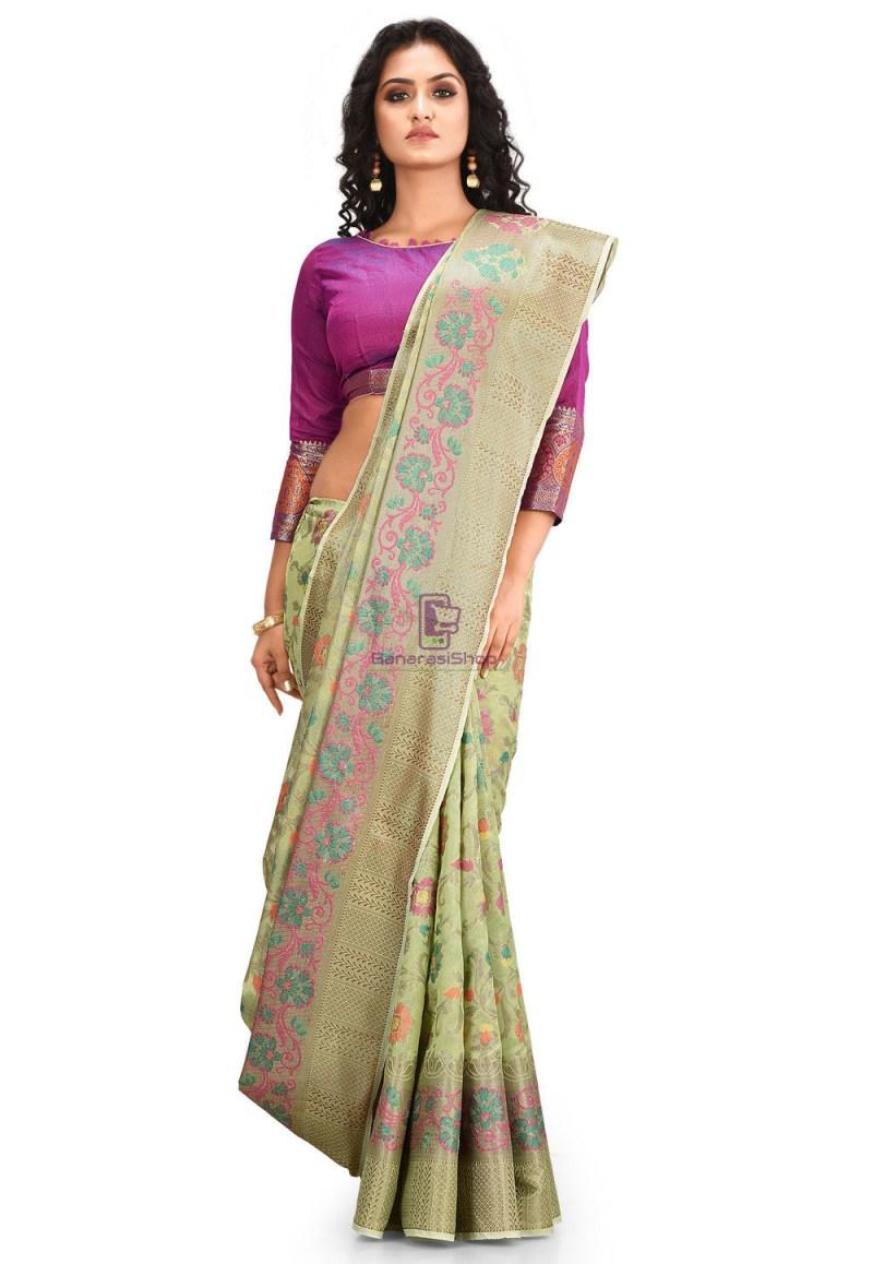 Woven Cotton Silk Saree in Pastel Green 1