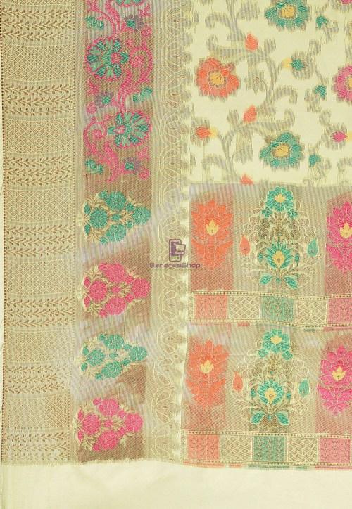 Woven Cotton Silk Saree in Pastel Green 6