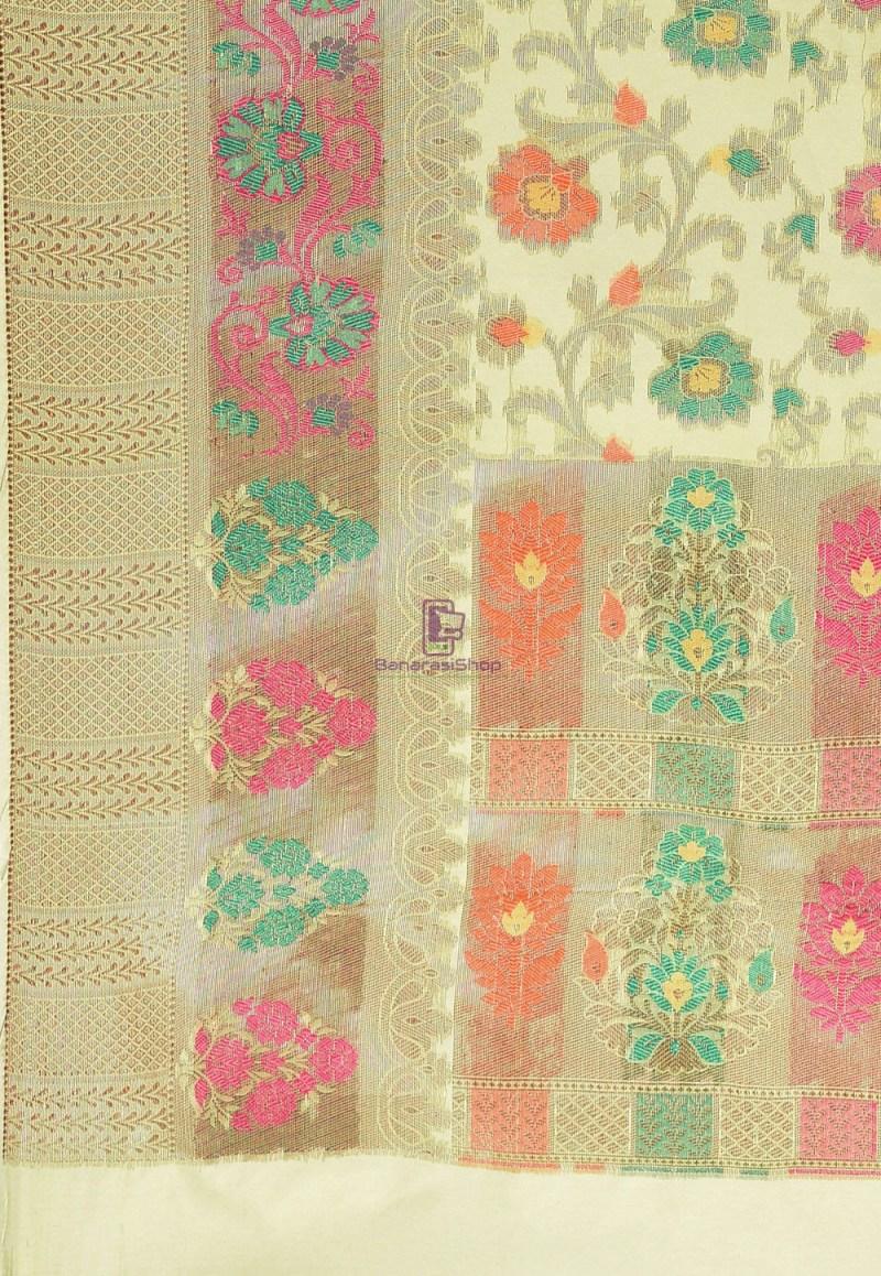 Woven Cotton Silk Saree in Pastel Green 3