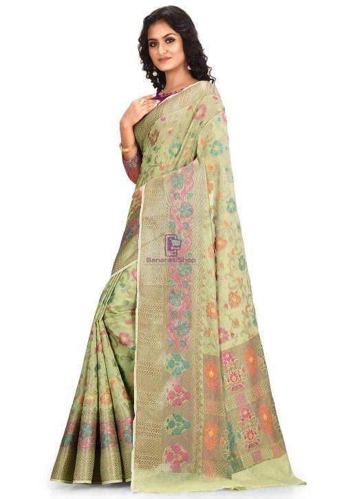 Woven Cotton Silk Saree in Pastel Green 5
