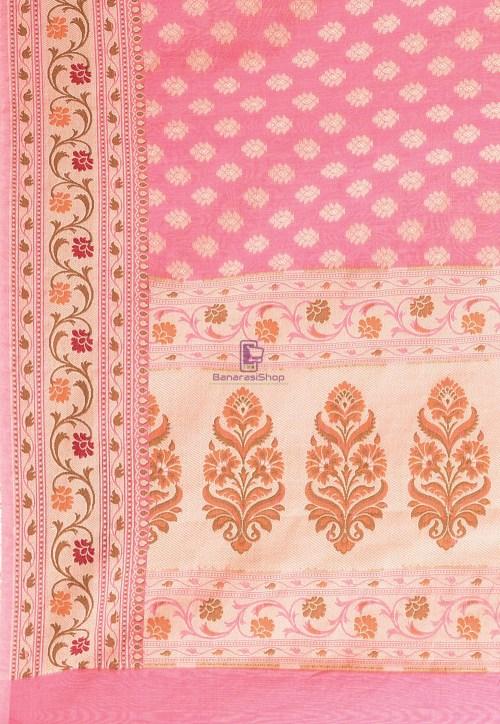 Woven Cotton Silk Saree in Pink 6
