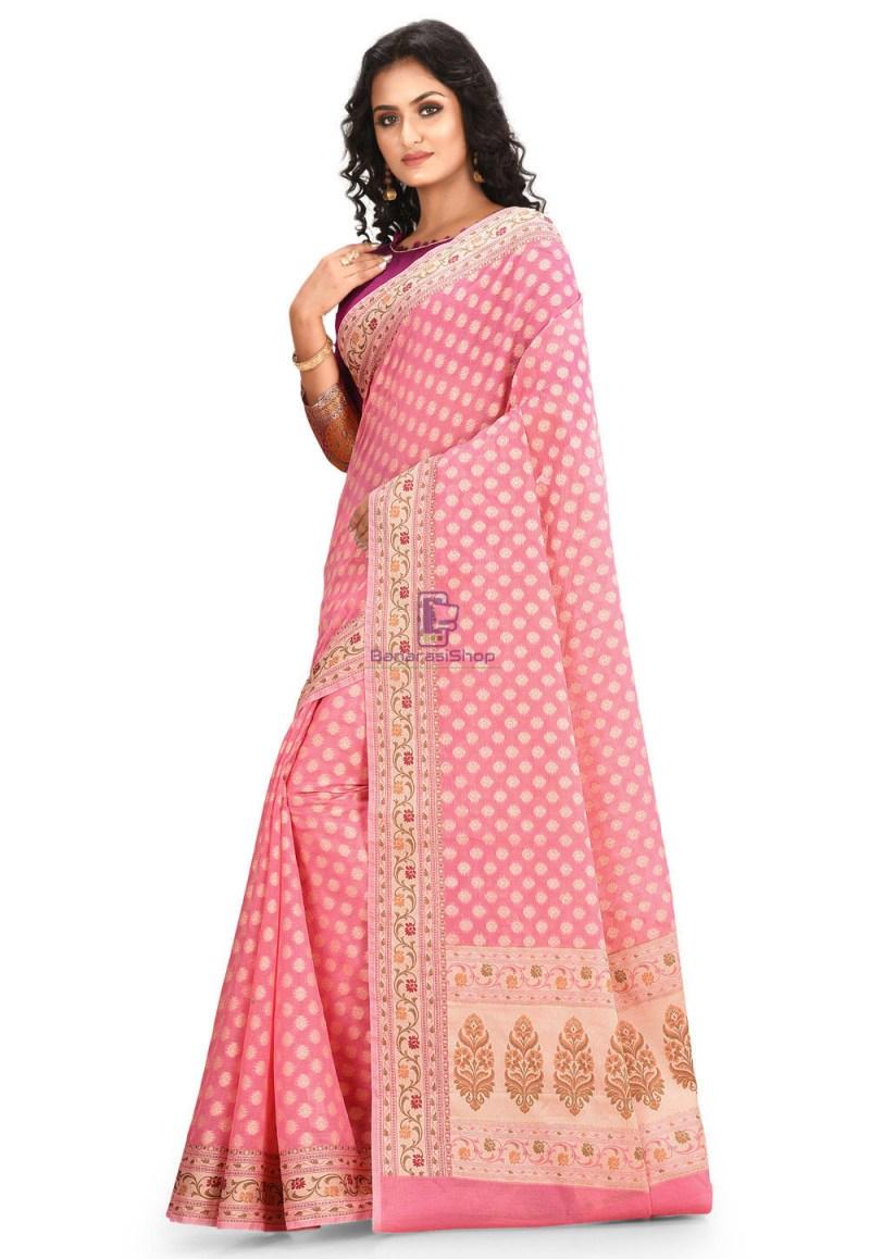 Woven Cotton Silk Saree in Pink 2