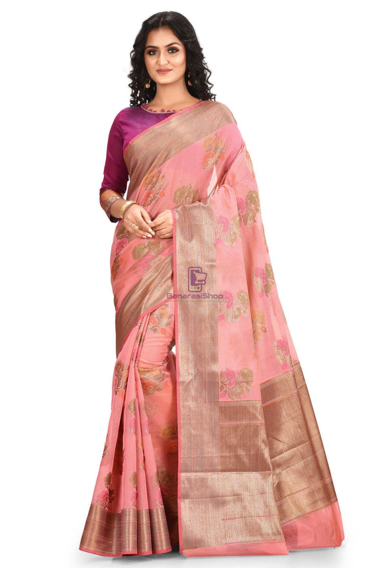 Woven Cotton Silk Saree in Pink 1