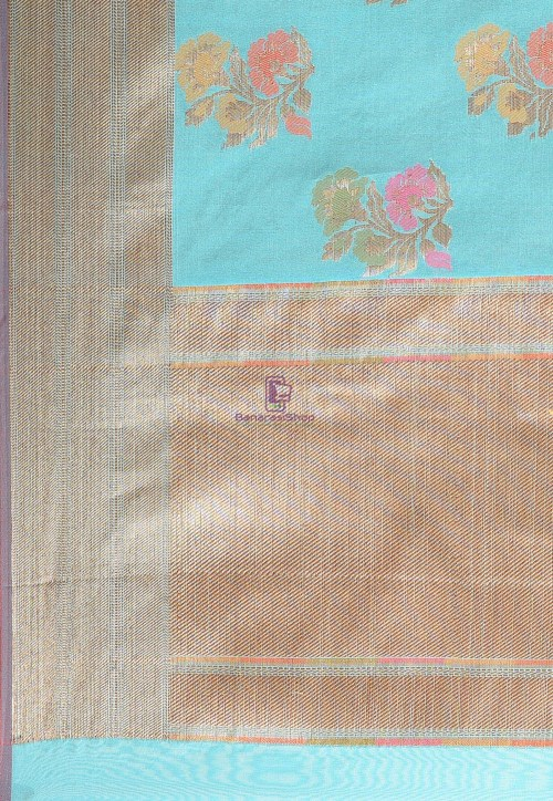 Woven Cotton Silk Saree in Teal Blue 6
