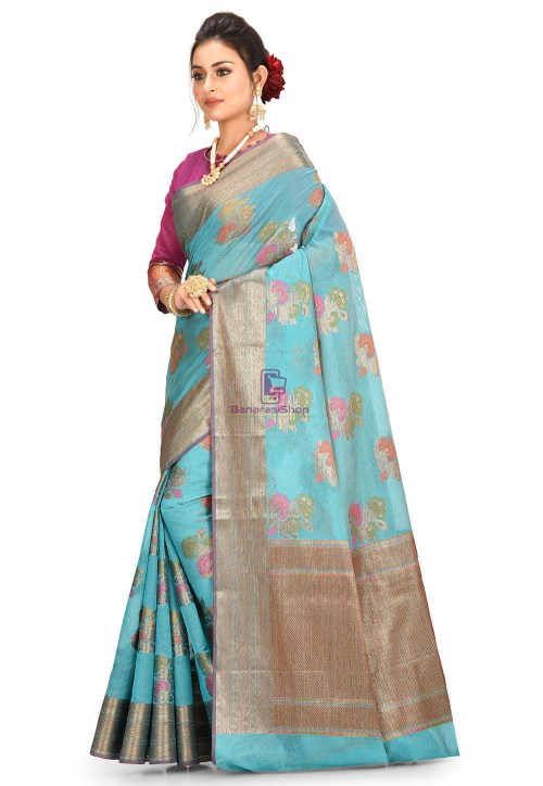 Woven Cotton Silk Saree in Teal Blue 5