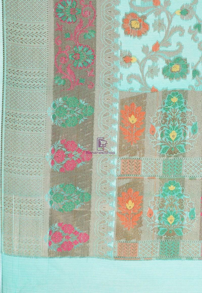 Woven Cotton Silk Saree in Teal Green 3