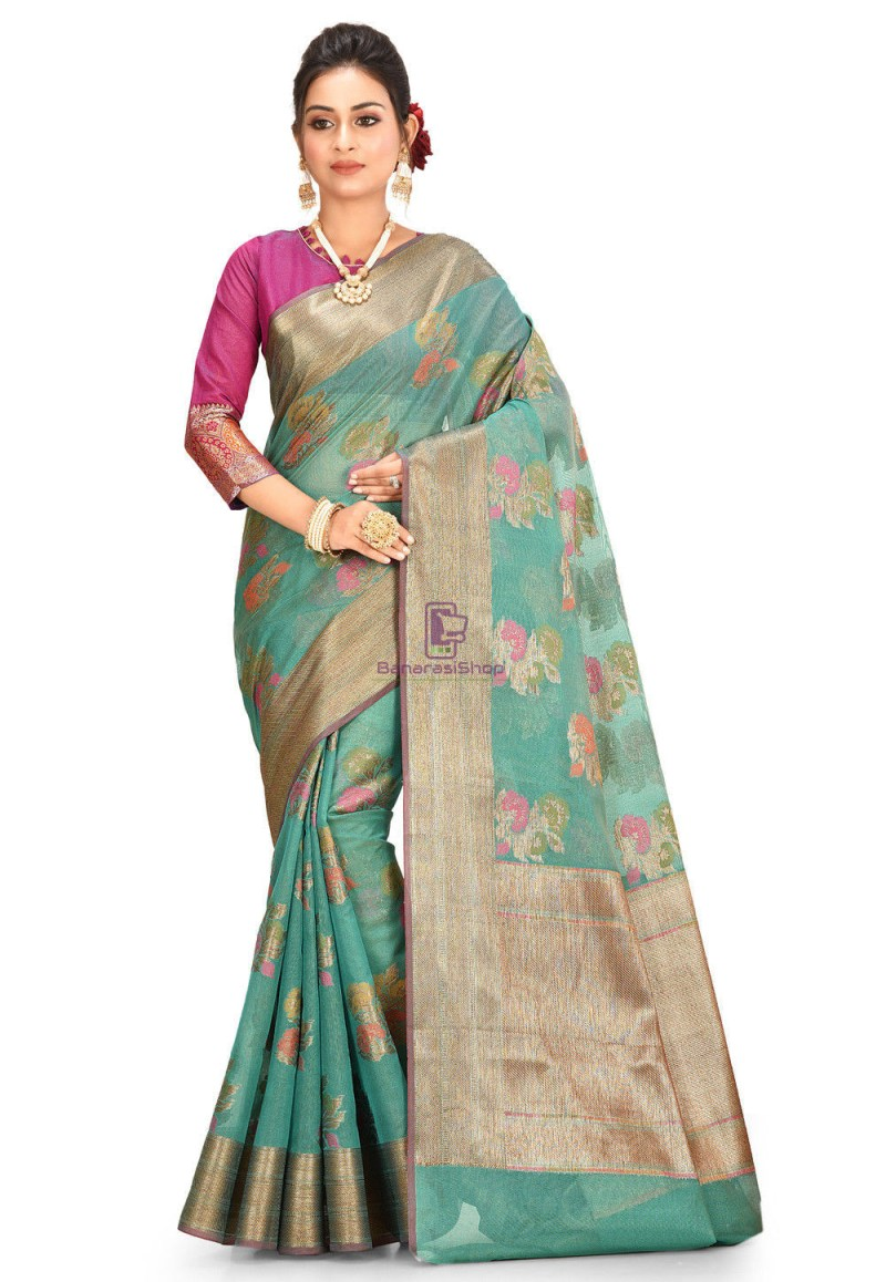 Woven Cotton Silk Saree in Teal Green 1