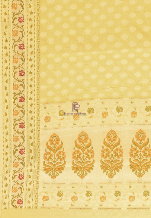 Woven Cotton Silk Saree in Yellow 5