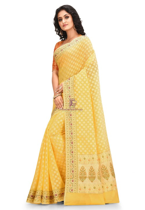 Woven Cotton Silk Saree in Yellow 6