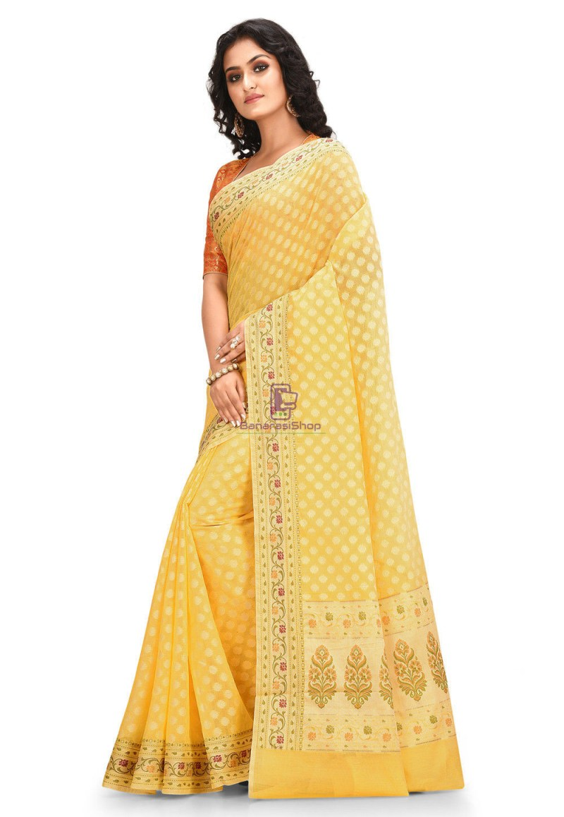 Woven Cotton Silk Saree in Yellow 3