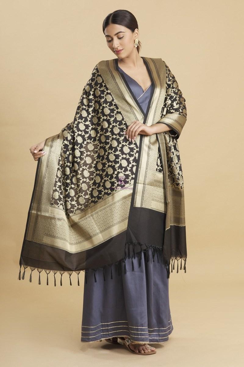 Woven Banarasi Art Silk Floral Tassel Dupatta 4