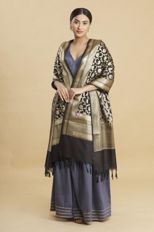 Woven Banarasi Art Silk Floral Tassel Dupatta 7