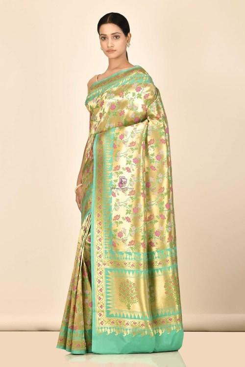 Banarasi Tissue Silk Minedar Saree with Running Blouse Fabric 5