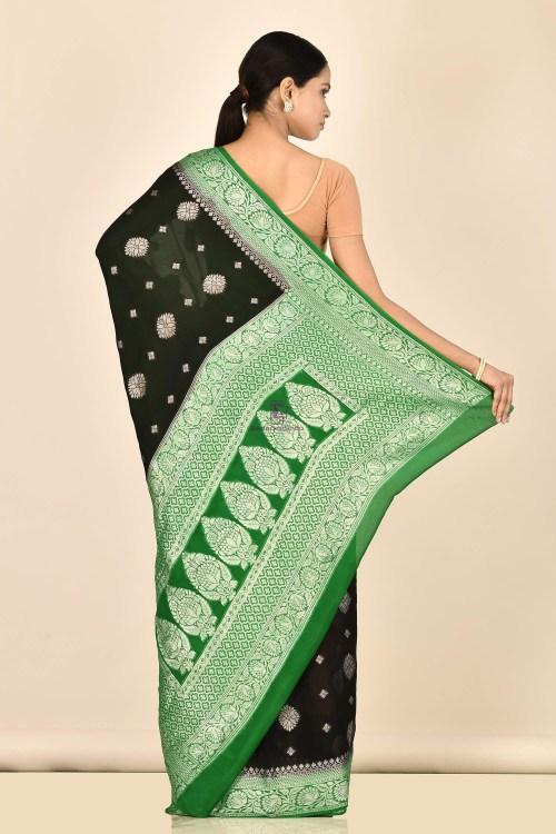 Banarasi Chiffon Silk Saree with Running Blouse Fabric 6