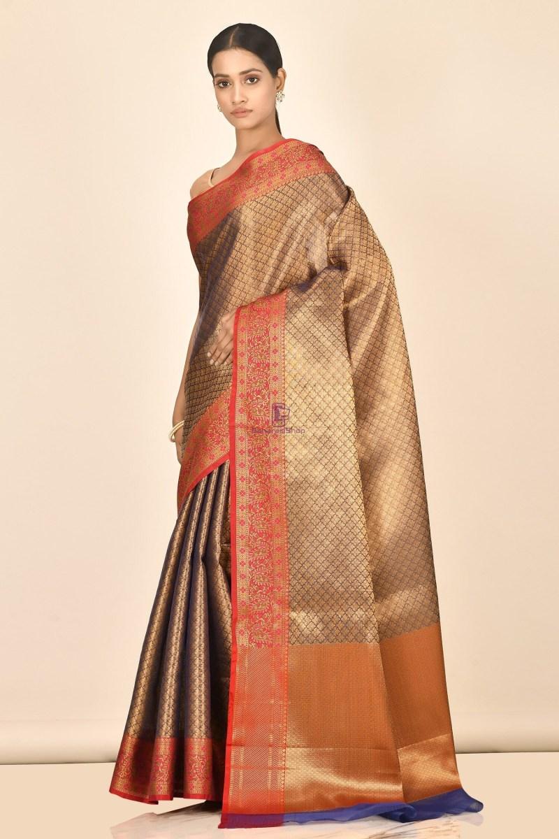 Banarasi Tissue Silk Saree with Running Blouse Fabric 2