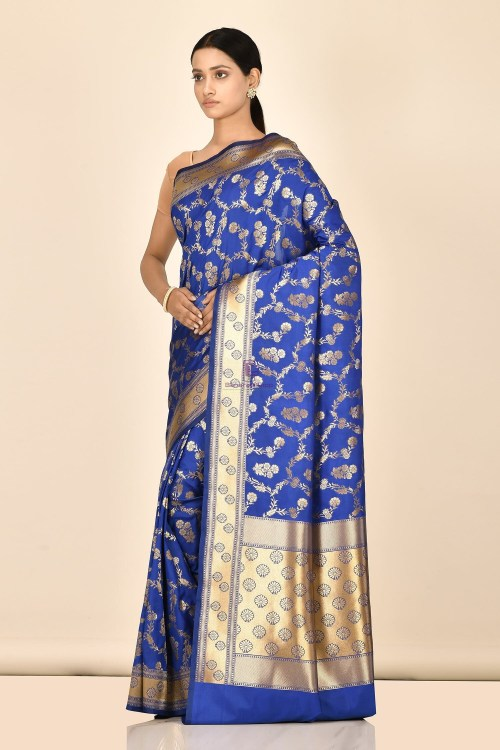 Banarasi Silk Saree with Running Blouse Fabric 5