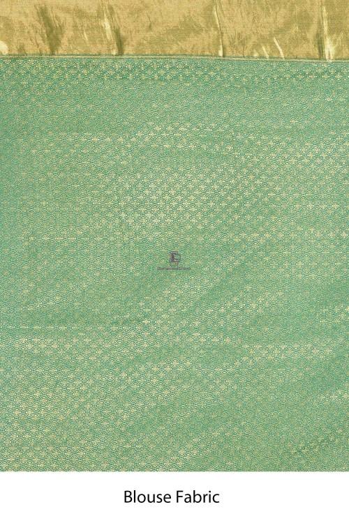 Handloom Hand Painted Banarasi Munga Silk Saree with Running Blouse Fabric 7