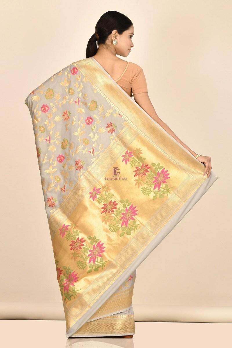 Banarasi Silk Minedar Saree with Running Blouse Fabric 3