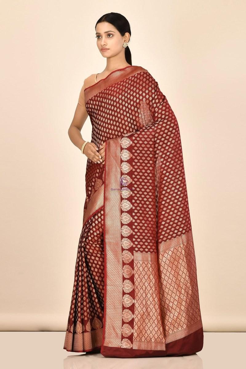 Handloom Uppada Banarasi Katan Silk Saree with Running Blouse Fabric 2