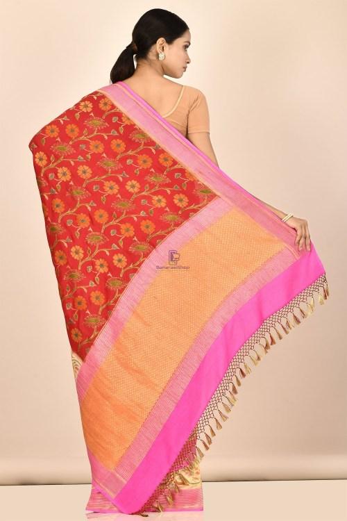 Handloom Hand Painted Banarasi Munga Silk Saree with Running Blouse Fabric 6
