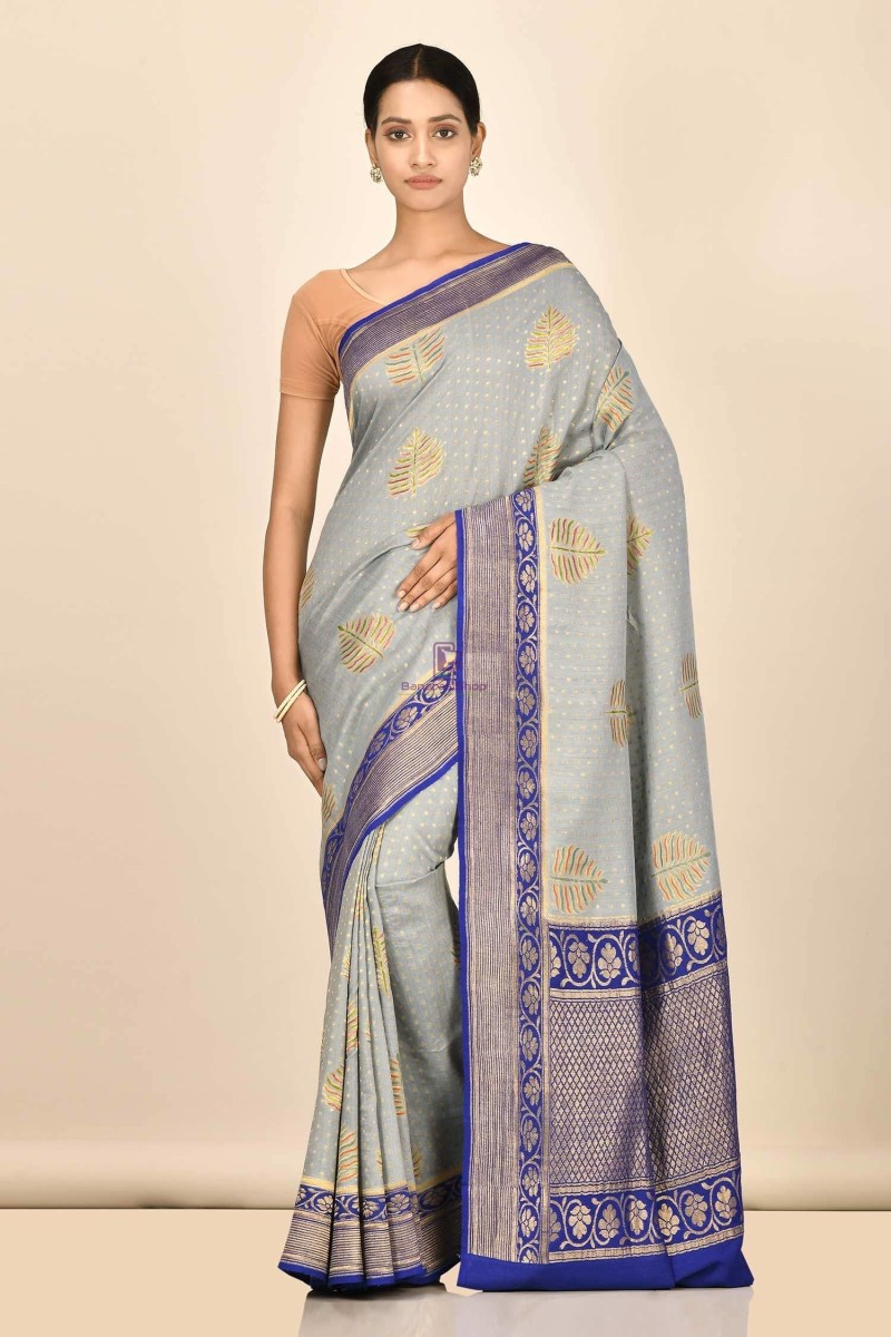Handloom Hand Painted Banarasi Munga Silk Saree with Running Blouse Fabric 1