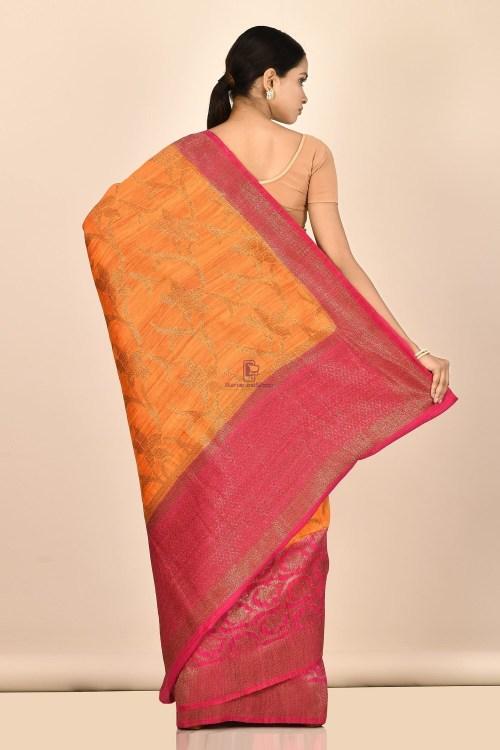 Handloom Dupion Silk Saree with Running Blouse Fabric 6