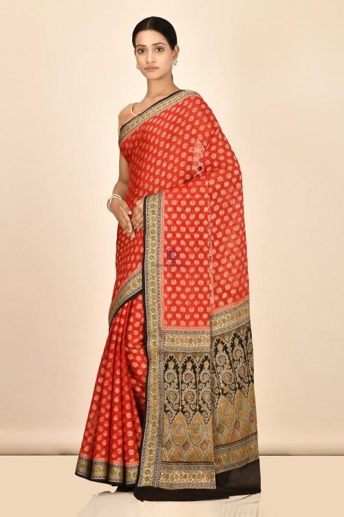 Banarasi Chiffon Silk Saree with Running Blouse Fabric 5