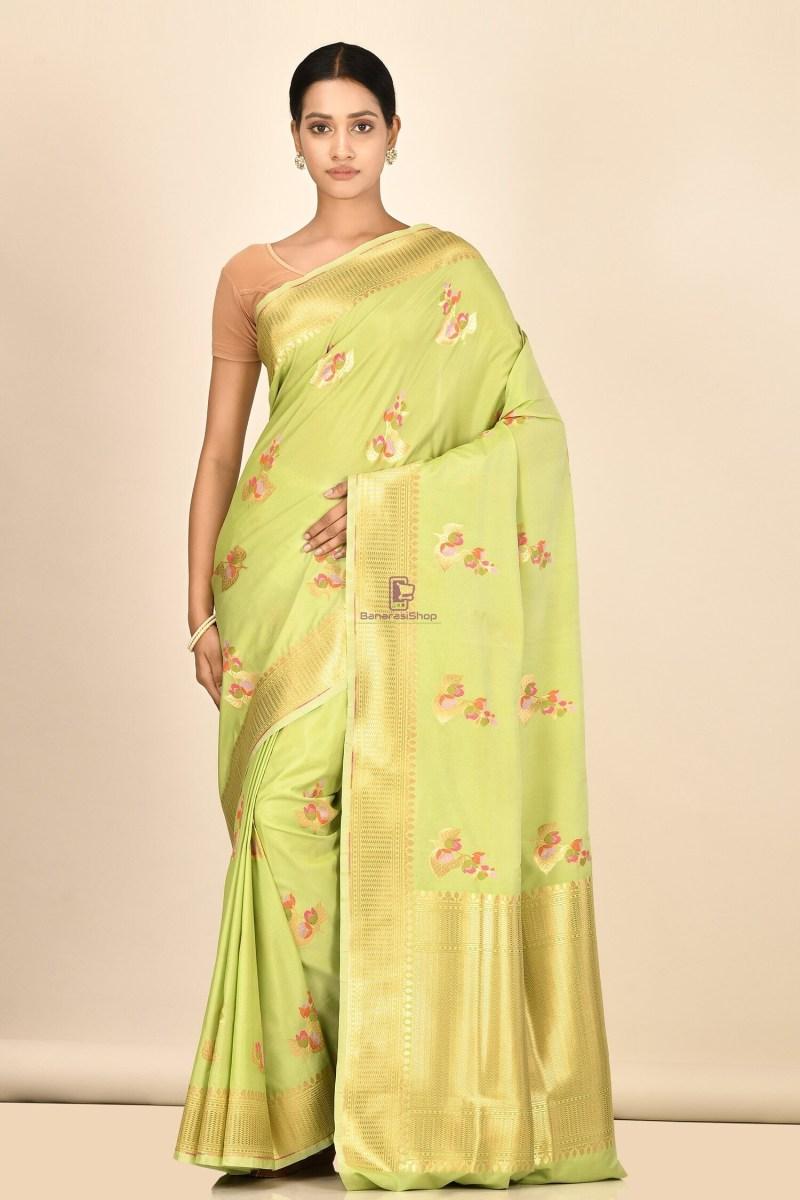 Banarasi Silk Minedar Saree with Running Blouse Fabric 1