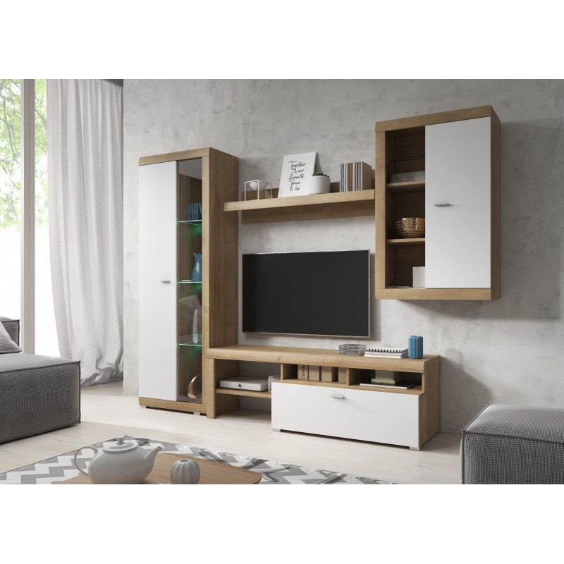 BMF STELLA LIVING ROOM SET WALL SHELF TV STAND TALL FLOATING DISPLAY CABINET LED