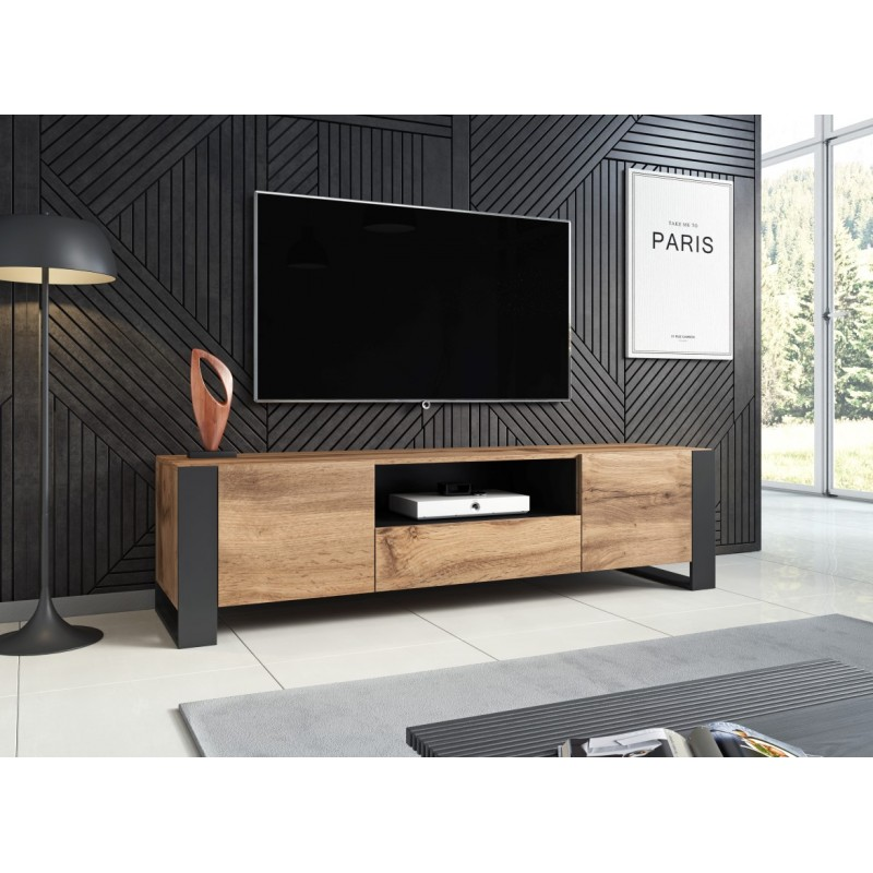 tv stand wood cabinet wotan wood effect antracite grey 180cm wide drawer