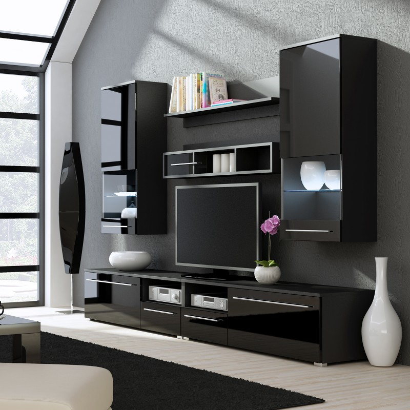 Bmf Luna 4 Wall Unit Led Lights Black High Gloss Tv Stand Display Cabinets Wall Shelves Living Room