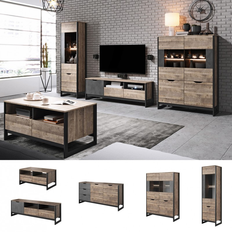 bmf arden set living room furniture entertainment unit tv stand display cabinet coffee table led lights