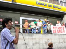 Mobilização do primeiro dia de greve dos bancários do Pará em frente à Superintendência do Banco do Brasil