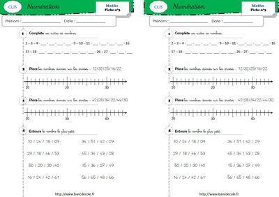 Exercices De Numeration Niveau Gs Cp Ce1 Bancs D Ecole