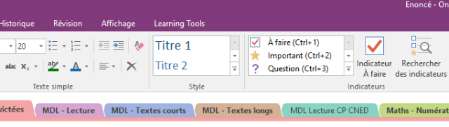 Situation de Learning Tools dans OneNote
