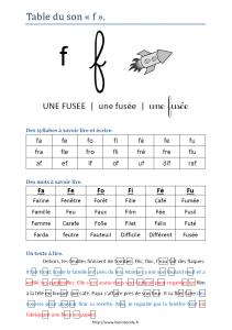Table de lecture du son F