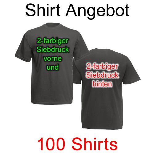 100 T-Shirts vorne und hinten zweifarbig bedruckt