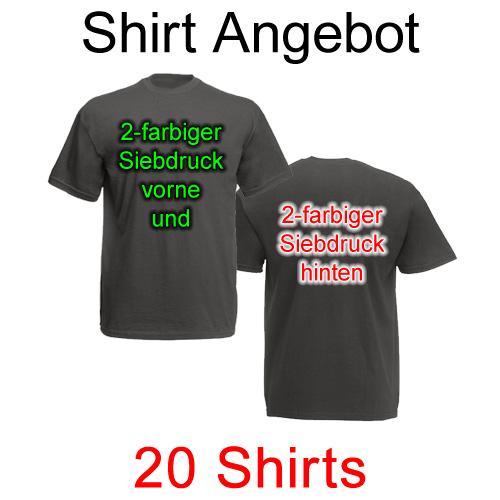 20 T-Shirts vorne und hinten 2-farbig bedruckt