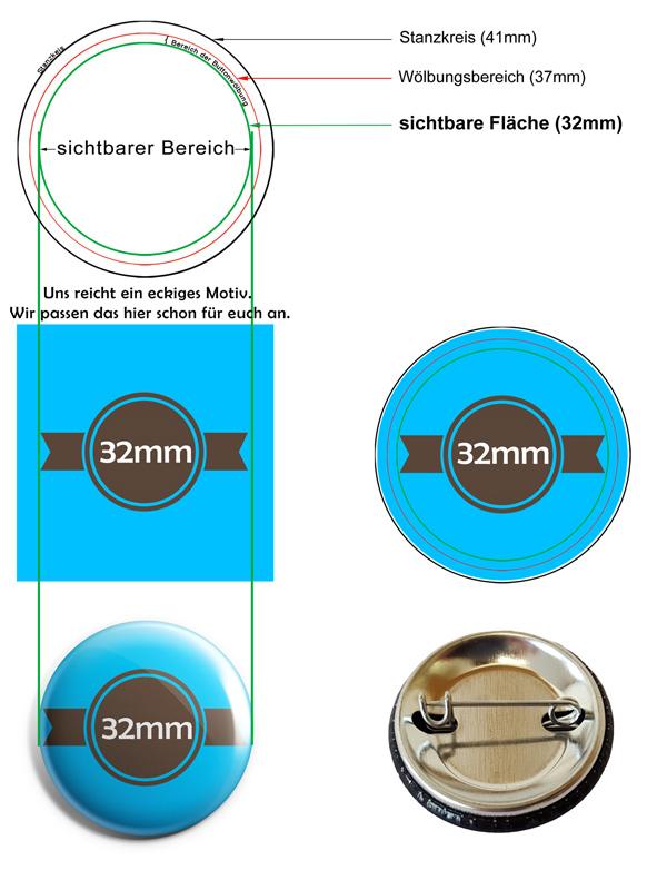 32mm Buttons Vorlage